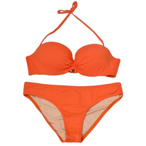 Pixie Pier Women's Orange Solid Bandeau Halter 2 Pc Bikini Swimsuit