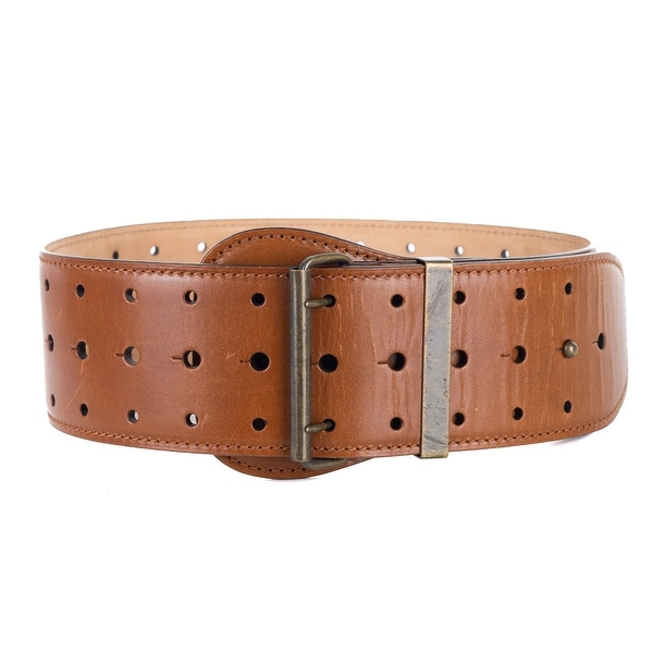 Roberto Cavalli Brown Triple Hole Punch Wide Leather Belt