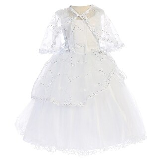 Angels Garment Baby Girls White Organza Tulle Underlay Flower Girl Dress 6-18M