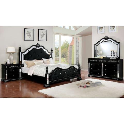 4 Piece Bedroom Set With One Nightstands, Black