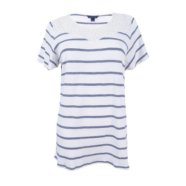 c6b2ecb28b4 Shop Tommy Hilfiger Women's Striped Lace T-Shirt (M, White Multi) - White  Multi - M - On Sale - Free Shipping On Orders Over $45 - Overstock -  23600984