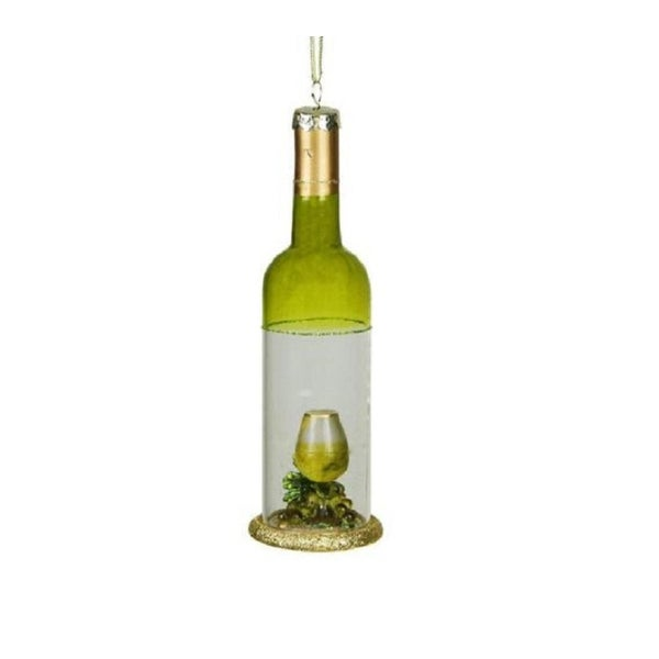 "7"" Tuscan Winery Green Transparent Wine Bottle Glass Christmas Ornament"