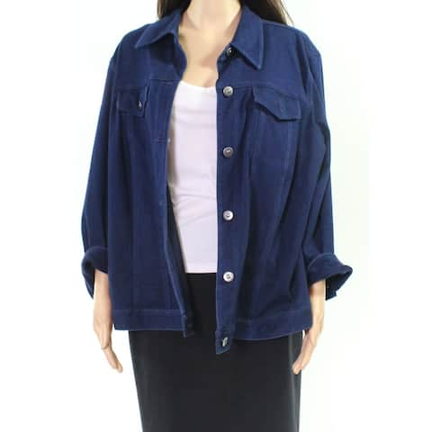 Ruby Rd. Navy Blue Womens Size 22W Plus Button Down Denim Jacket
