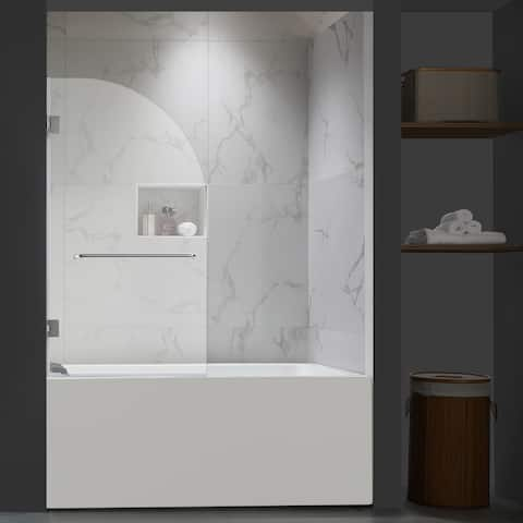 "FELYL 34"" W x 58"" H Hinged Frameless Tub Door"