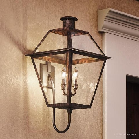 "Luxury Historic Outdoor Wall Light, 29""H x 13.5""W, with Tudor Style, Antique Gas Lantern Design, Rustic Copper Finish"