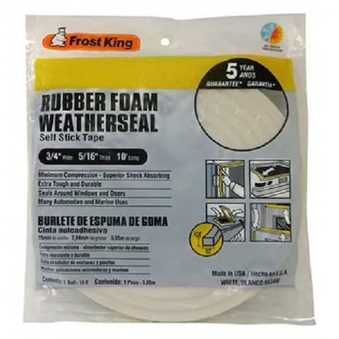 "Frost King R534WH Rubber Foam Weather-Strip Tape, 3/4"" x 5/16"", White"