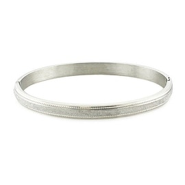 Womens Stainless Steel Oval Bangle with Glittering Satin Finish (6mm Wide)