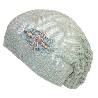 David & Young Women's Rhinestone Accent Throwback Beanie Hat