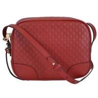 """Gucci 449413 Red Leather Micro GG Guccissima BREE Crossbody Purse Bag - 8.5"""" x 7"""" x 4"""""""