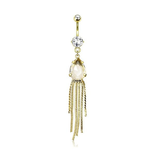 Single Pronged Golden Pear Gem With String Dangles gold-plated Navel Belly Button Ring