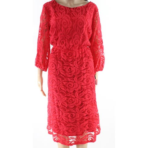 ING Cherry Red Womens Size 3X Plus Floral Lace 3/4 Sleeve A Line Dress
