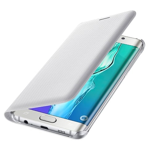 Samsung Galaxy S6 Edge+ Wallet Flip Cover, White, Retail Packing