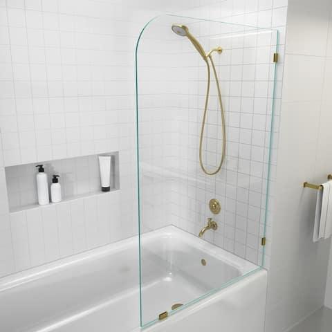 "Glass Warehouse 34"" x 58.25"" Frameless Bathtub Shower Door - Single Fixed Panel Radius"