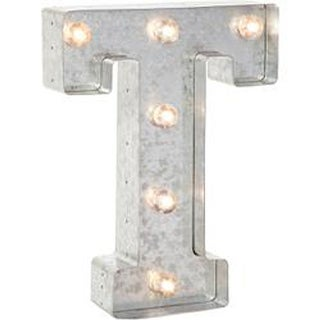"""Silver Metal Marquee Letter 9.875""""-T"""