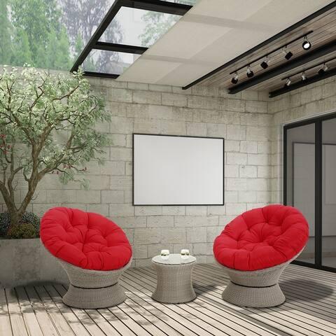 3-pc Outdoor Garden Steel & Rattan Wicker Leisure Sofa Set, Patio Seating Group