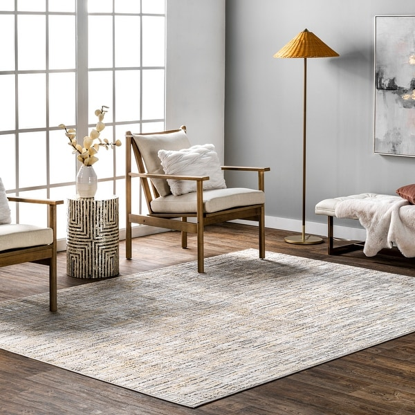 nuLOOM Emersyn Contemporary Textured Abstract Crosshatch Area Rug