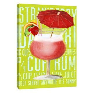 """PTM Images 9-105727  PTM Canvas Collection 10"""" x 8"""" - """"Strawberry Daiquiri (Vertical)"""" Giclee Liquor & Cocktails Art Print on"""