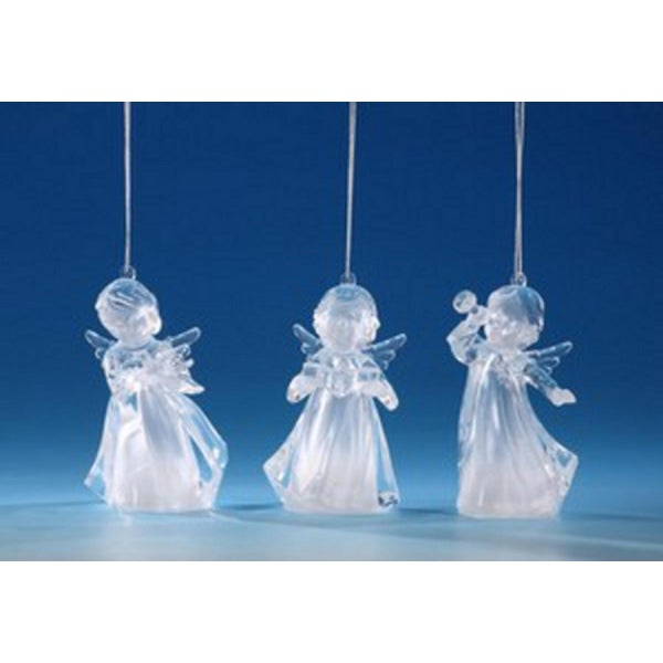 """Pack of 6 Icy Crystal Illuminated Decorative Choir Girl Ornaments 4.25"""""""