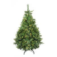 "4.5' x 37"" Pre-Lit Cashmere Mixed Pine Artificial Christmas Tree - Warm Clear LED Lights - green"