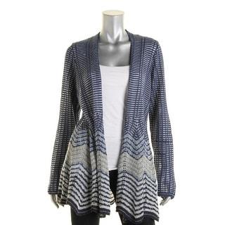 Nic + Zoe Womens Petites Metallic Open Front Cardigan Sweater - pp
