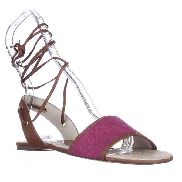 MICHAEL Michael Kors Lilah Flat Lace-Up Ankle Espadrille Sandals, Fuchsia - 6 us