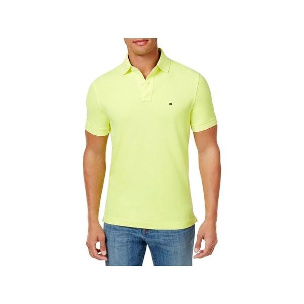 916f7cbc21b6 Shop Tommy Hilfiger Mens Polo Shirt Neon Custom Fit - Ships To ...