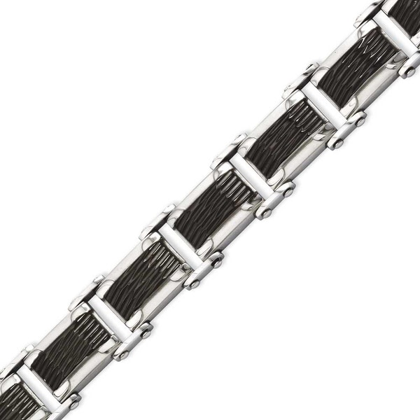 Stainless Steel Black-plated & Textured 9in Bracelet