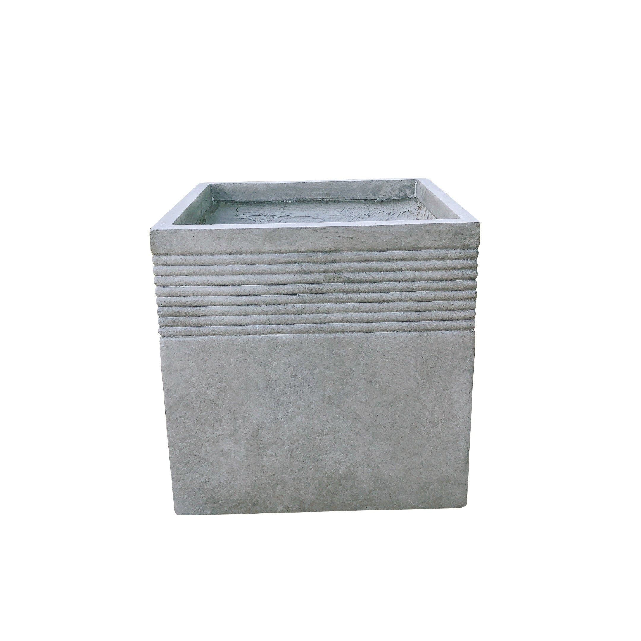 Kante Lightweight Modern Square Outdoor Planter Large 17 7 Inch Tall Natural Concrete Overstock 30694428