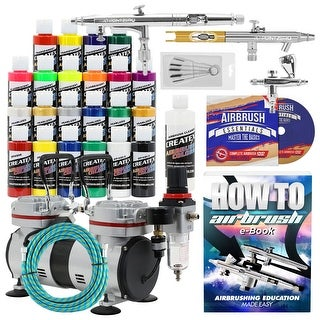 Airbrush Kit with 3 Airbrushes - 23 Colors - Hobby - T-Shirt