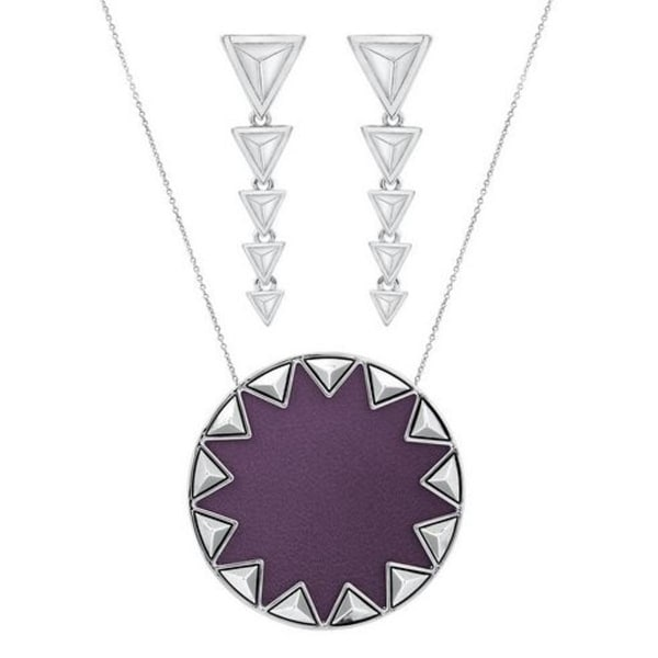 House of Harlow by Nicole Richie Womens Sunburst Pyramid Pendant Necklace - violet/silver