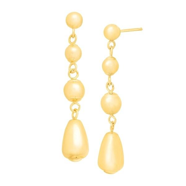 Eternity Gold Graduated Teardrop Drop Earrings in 14K Gold