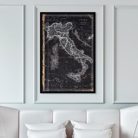 Oliver Gal 'Map of Italy 1873' Maps and Flags Wall Art Framed Print European Countries Maps - Black, White