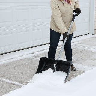 CASL Brands 22-Inch Snow Shovel with D-Grip Handle and Wear Strip