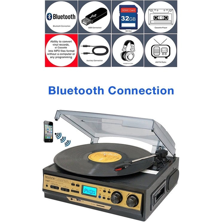 Boytone BT-27G-C Bluetooth connection 3-Speed Stereo Turntable, 2 built in Speakers Digital LCD Display AM/FM Radio, USB/SD/AUX+ - Thumbnail 0