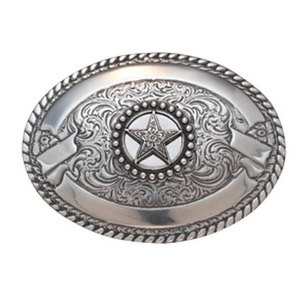 Crumrine Western Belt Buckle Banners Scroll Texas Star Silver - 3 3/4 x 2 3/4