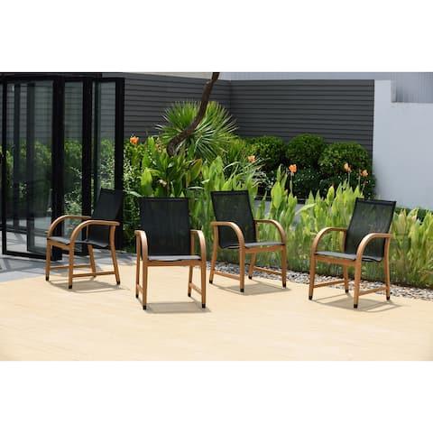 Amazonia Karoni Patio Black Chairs with Teak Finish - Set of 4