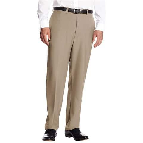 Haggar Men's Classic Fit Flat Front Expandable Dress Pants, Taupe, 38x32 - 38Wx32L