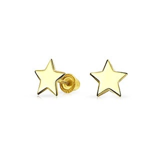 Tiny Minimalist Celestial USA Patriotic Rock Star Stud Earrings For Women For Teen Real 14K Yellow Gold Screwback