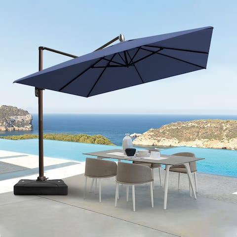 Offset Cantilever 10-foot Umbrella with Cross Base