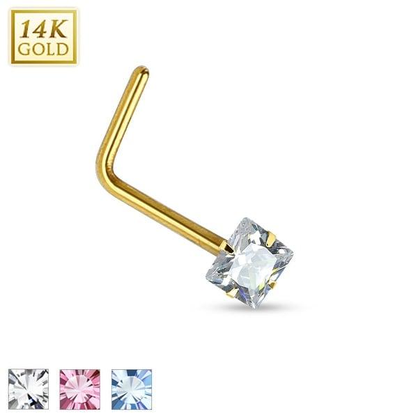 14Kt Gold Prong Square CZ L Bend Nose Ring - 20GA (Sold Ind.)