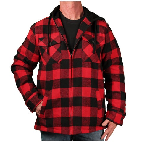 Burnside Men's Sherpa-Lined Hooded Buffalo Plaid Zip-Front Flannel