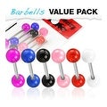 6 Pcs Pack of Assorted Color Surgical Steel Barbells with UV Balls - 14 GA - Thumbnail 0