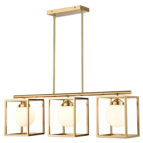 Light Society Rafael 3-Light Chandelier - Brushed Brass/White