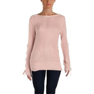 Ivanka Trump Womens Pullover Sweater Ribbed Knit Lace-Up Sleeves