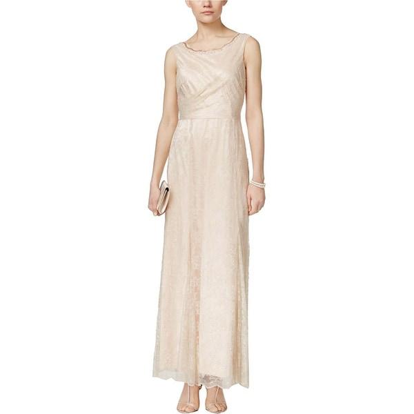 Tahari ASL Womens Elinia Evening Dress Metallic Embellished