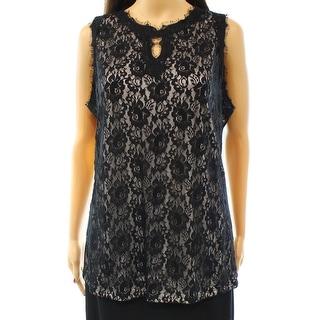 INC NEW Black Women's Size Medium M Tank Cami Lace Keyhole Blouse
