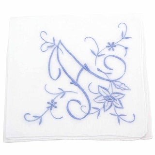 Extra Large Cotton Handkerchief with Monogram Embroidery