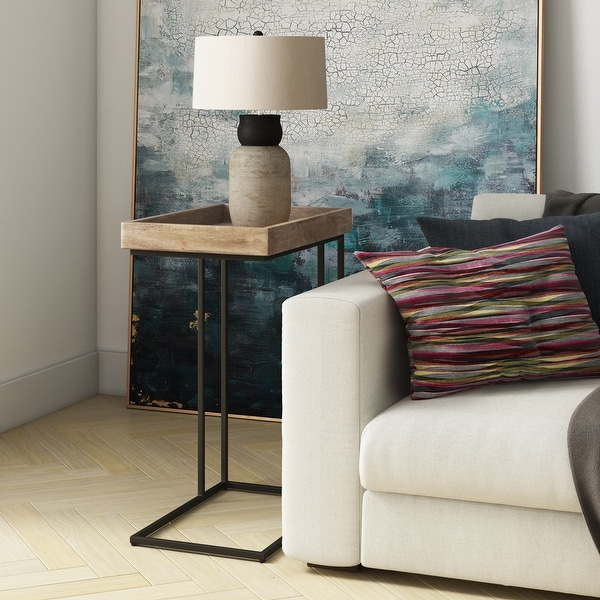 WYNDENHALL Matty SOLID MANGO WOOD and Metal 18 inch Wide Rectangle Industrial C Side Table in Natural, Fully Assembled. Opens flyout.