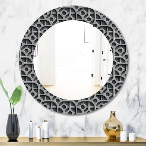 Designart 'Scandinavian 19' Mid-Century Mirror - Oval or Round Wall Mirror - Grey/Silver