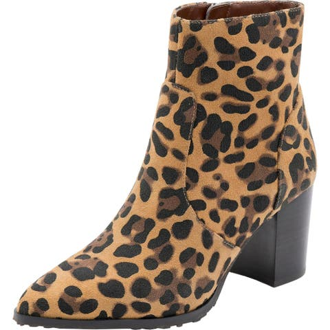 Blondo Womens Tania Ankle Boots Suede Animal Print - Leopard Suede